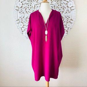 {DVF} Kora Silk Dolman Sleeve Shift Tunic Dress